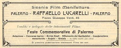 Sicania Film Manifattura di Raffaello Lucarelli, Palermo 1910