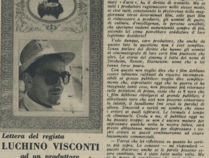 Lettera del regista Luchino Visconti ad un produttore
