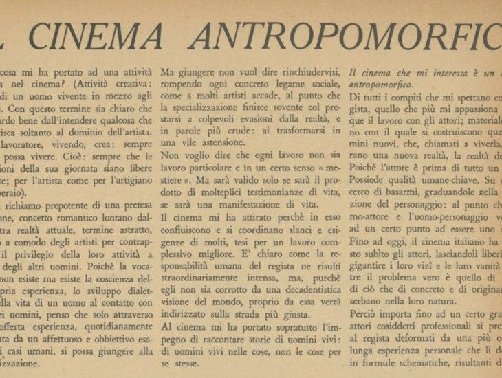 Il cinema antropomorfico