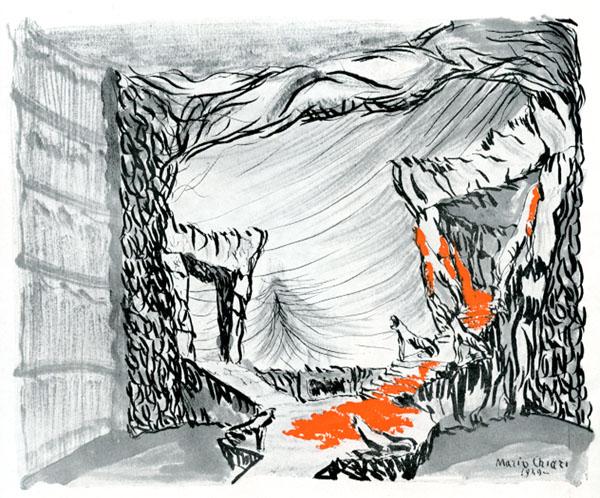 La scena dell'Oreste (scenografia di Mario Chiari)