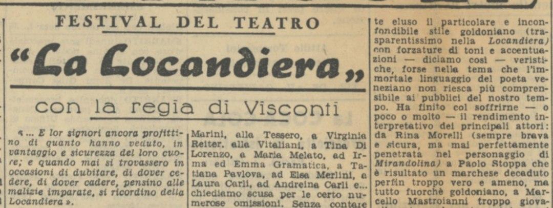 Festival del Teatro La Locandiera con la regia di Visconti