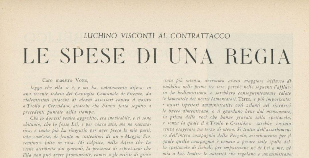 Luchino Visconti al contrattacco: Le spese di una regia