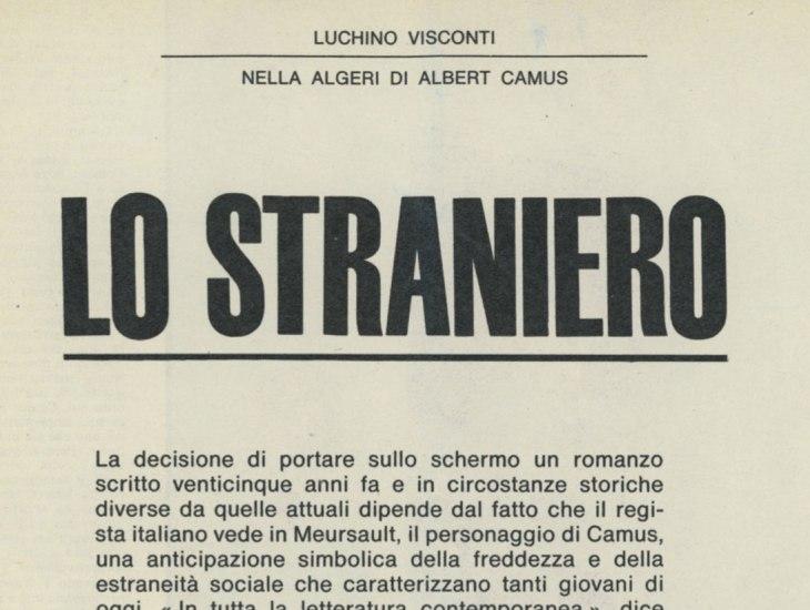 Luchino Visconti nella Algeri di Albert Camus