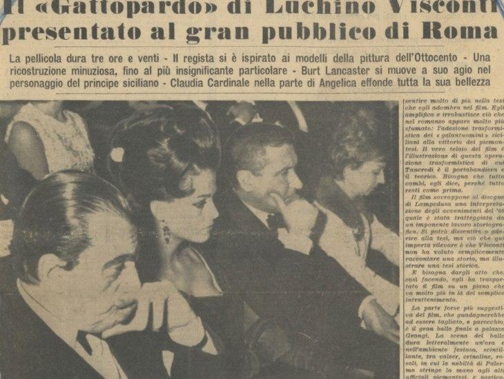Il Gattopardo di Luchino Visconti presentato al gran pubblico di Roma