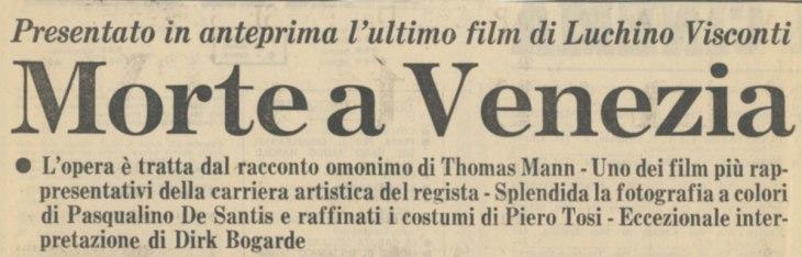 Presentato in anteprima Morte a Venezia di Luchino Visconti