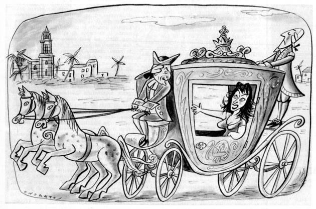 Anna Magnani e Luchino Visconti in carrozza, caricatura di Onorato