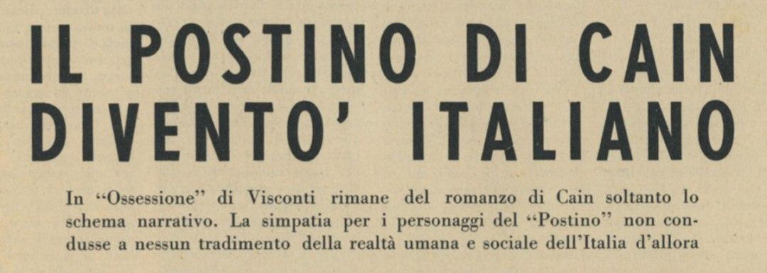Il postino di Cain diventò italiano