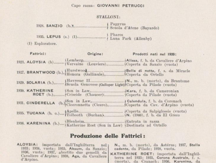 Allevamento appartenente al Conte Luchino Visconti di Modrone