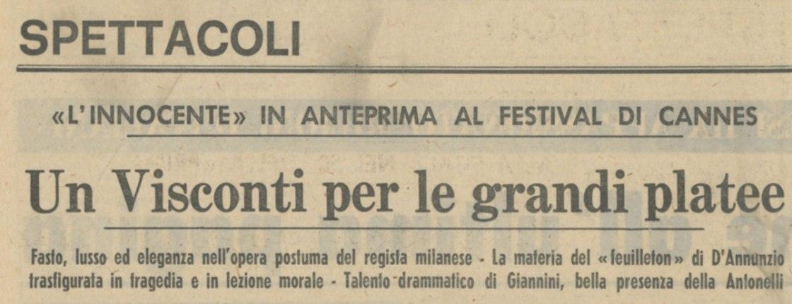 L'innocente di Luchino Visconti in anteprima a Cannes 1976