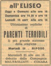 Parenti terribili al Teatro Eliseo 1945