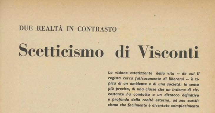 Scetticismo di Visconti