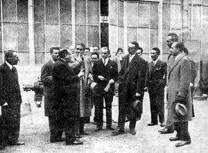Inaugurazione della Ellios, settembre 1933. Al centro, Marcello Visconti di Modrone