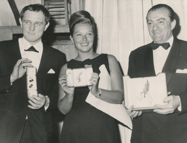 Richard Harris, Marina Vlady e Luchino Visconti, Cannes 1963