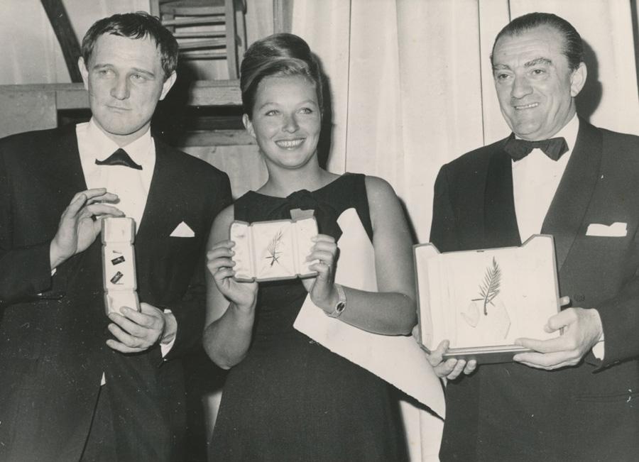 Richard Harris, Marina Vlady e Luchino Visconti, Cannes 1963