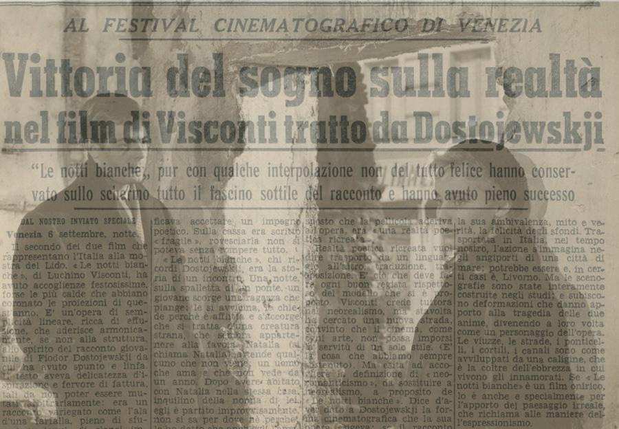 Vittoria del sogno sulla realtà nel film di Visconti tratto da Dostojewskji